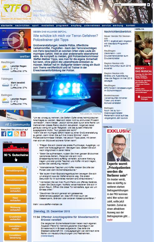 TV Baden-Württemberg-eins und RTF.1: Übernahme meiner Presseveröffentlichung